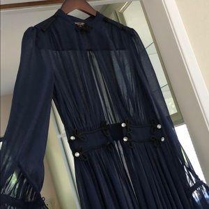 Nasty gal dark blue chiffon see through dress